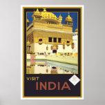 Viaje del vintage, la India Póster