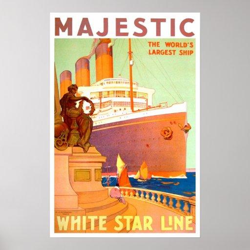 Viaje del vintage, línea blanca de la estrella poster