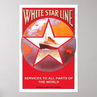Viaje del vintage, línea blanca de la estrella póster