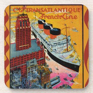 Viaje del vintage - línea francesa transatlántica posavasos de bebida