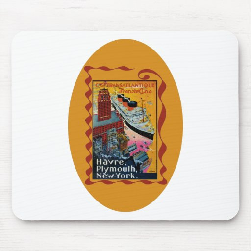 Viaje del vintage - línea francesa transatlántica tapetes de ratón