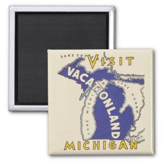 Viaje del vintage - Michigan Vacationland Imán De Frigorífico