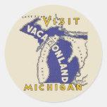 Viaje del vintage - Michigan Vacationland Pegatinas Redondas
