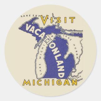 Viaje del vintage - Michigan Vacationland Pegatina Redonda
