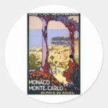 Viaje del vintage - Mónaco Monte Carlo Pegatina Redonda