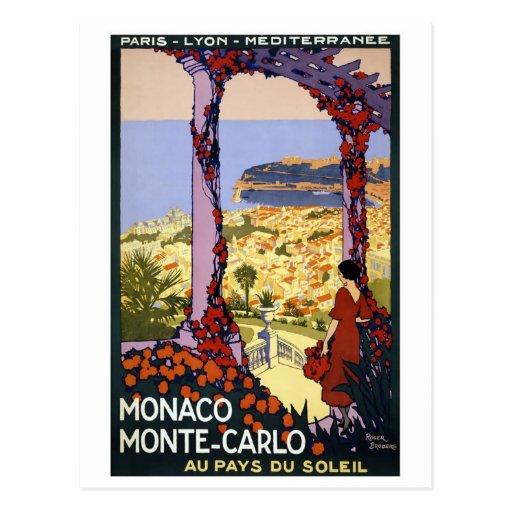 Viaje del vintage - Mónaco Monte Carlo Postal