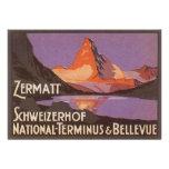 Viaje del vintage, montaña de Cervino en Suiza