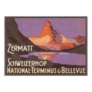 """Viaje del vintage, montaña de Cervino en Suiza Invitación 5"""" X 7"""""""