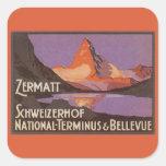 Viaje del vintage, montaña de Cervino en Suiza Pegatina Cuadradas