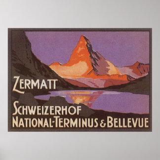 Viaje del vintage, montaña de Cervino en Suiza Póster