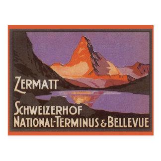 Viaje del vintage, montaña de Cervino en Suiza Tarjetas Postales