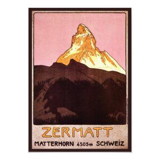 """Viaje del vintage, montaña de Cervino, Suiza Invitación 5"""" X 7"""""""