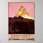 Viaje del vintage, montaña de Cervino, Suiza Poster