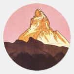 Viaje del vintage, montaña de Cervino, Suiza Etiqueta Redonda