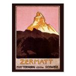 Viaje del vintage, montaña de Cervino, Suiza Tarjetas Postales