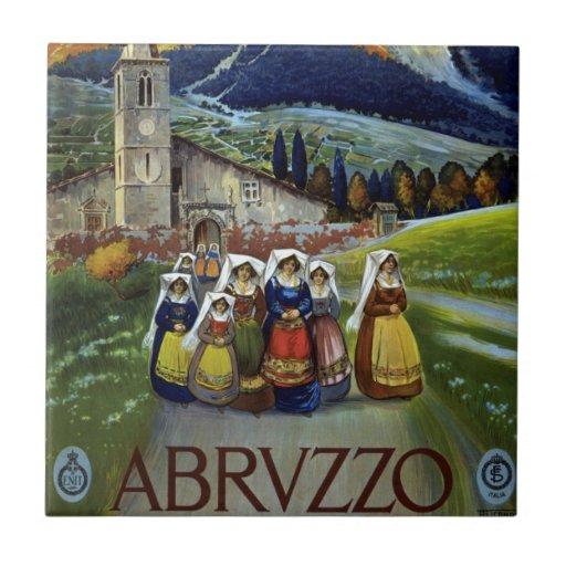 Viaje del vintage, mujeres de Abruzos, Italia Azulejo Ceramica