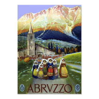 """Viaje del vintage, mujeres de Abruzos, Italia Invitación 5"""" X 7"""""""