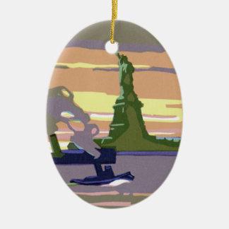 Viaje del vintage, New York City, estatua de la li Adornos De Navidad