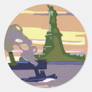 Viaje del vintage, New York City, estatua de la li Pegatinas Redondas