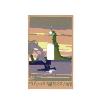 Viaje del vintage New York City estatua de la li Tapas Para Interruptores