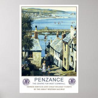 Viaje del vintage, Penzance, Cornualles Póster