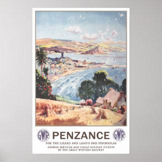 Viaje del vintage, Penzance. Póster