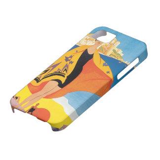 Viaje del vintage, playa del verano con la mujer funda para iPhone 5 barely there