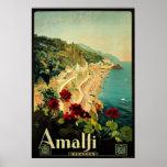 Viaje del vintage, playa italiana de la costa de A