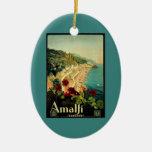 Viaje del vintage, playa italiana de la costa de adorno navideño ovalado de cerámica