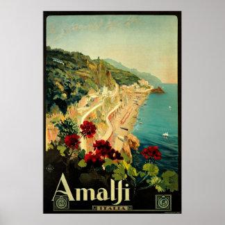 Viaje del vintage, playa italiana de la costa de póster