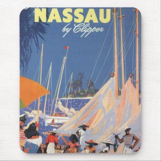 Viaje del vintage, puerto de Nassau, la Florida, Alfombrillas De Raton