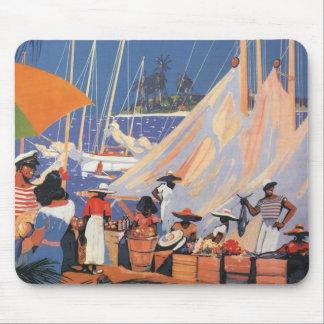 Viaje del vintage, puerto de Nassau, la Florida, Mouse Pads