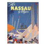 Viaje del vintage, puerto de Nassau, la Florida, Postal