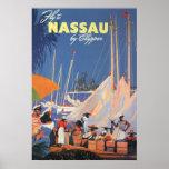 Viaje del vintage, puerto de Nassau, la Florida, v Poster