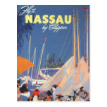 Viaje del vintage, puerto de Nassau, la Florida, v Tarjetas Postales