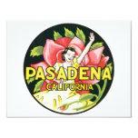 Viaje del vintage, rosas de la mujer, Pasadena Invitación 10,8 X 13,9 Cm