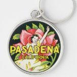 Viaje del vintage, rosas de la mujer, Pasadena Llavero Personalizado