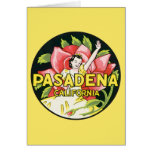Viaje del vintage, rosas de la mujer, Pasadena Tarjetas