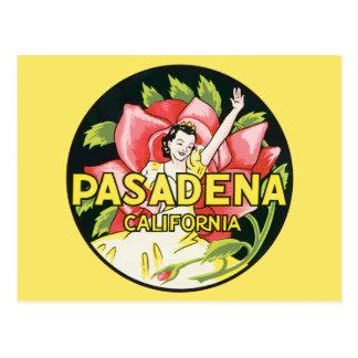 Viaje del vintage, rosas de la mujer, Pasadena Tarjeta Postal