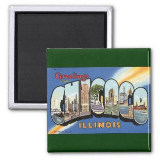 Viaje del vintage, saludos de Chicago Illinois Imán Cuadrado
