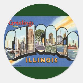 Viaje del vintage, saludos de Chicago Illinois Pegatina Redonda