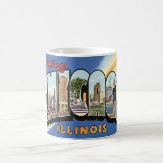 Viaje del vintage, saludos de Chicago Illinois Taza Básica Blanca