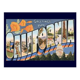 Viaje del vintage, saludos de las amapolas de Cali Postales