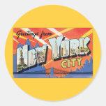 Viaje del vintage, saludos de New York City NYC Pegatina