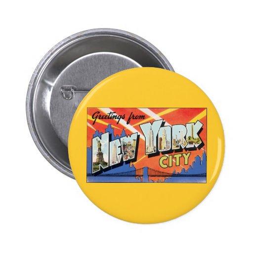 Viaje del vintage, saludos de New York City NYC Pins