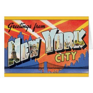Viaje del vintage, saludos de New York City NYC Felicitacion