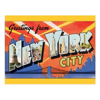 Viaje del vintage, saludos de New York City NYC Postales