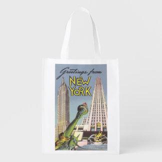 Viaje del vintage, señales famosas de New York Bolsas Para La Compra