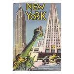 Viaje del vintage, señales famosas de New York Cit Tarjeta