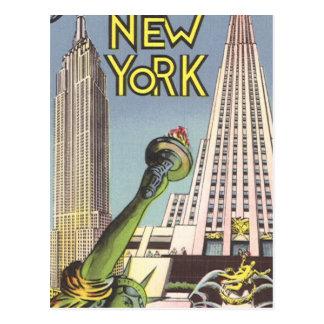 Viaje del vintage, señales famosas de New York Cit Tarjetas Postales